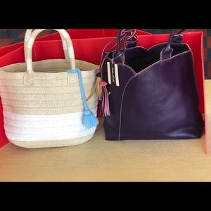 Brand new mellow world purple purse & straw purse.